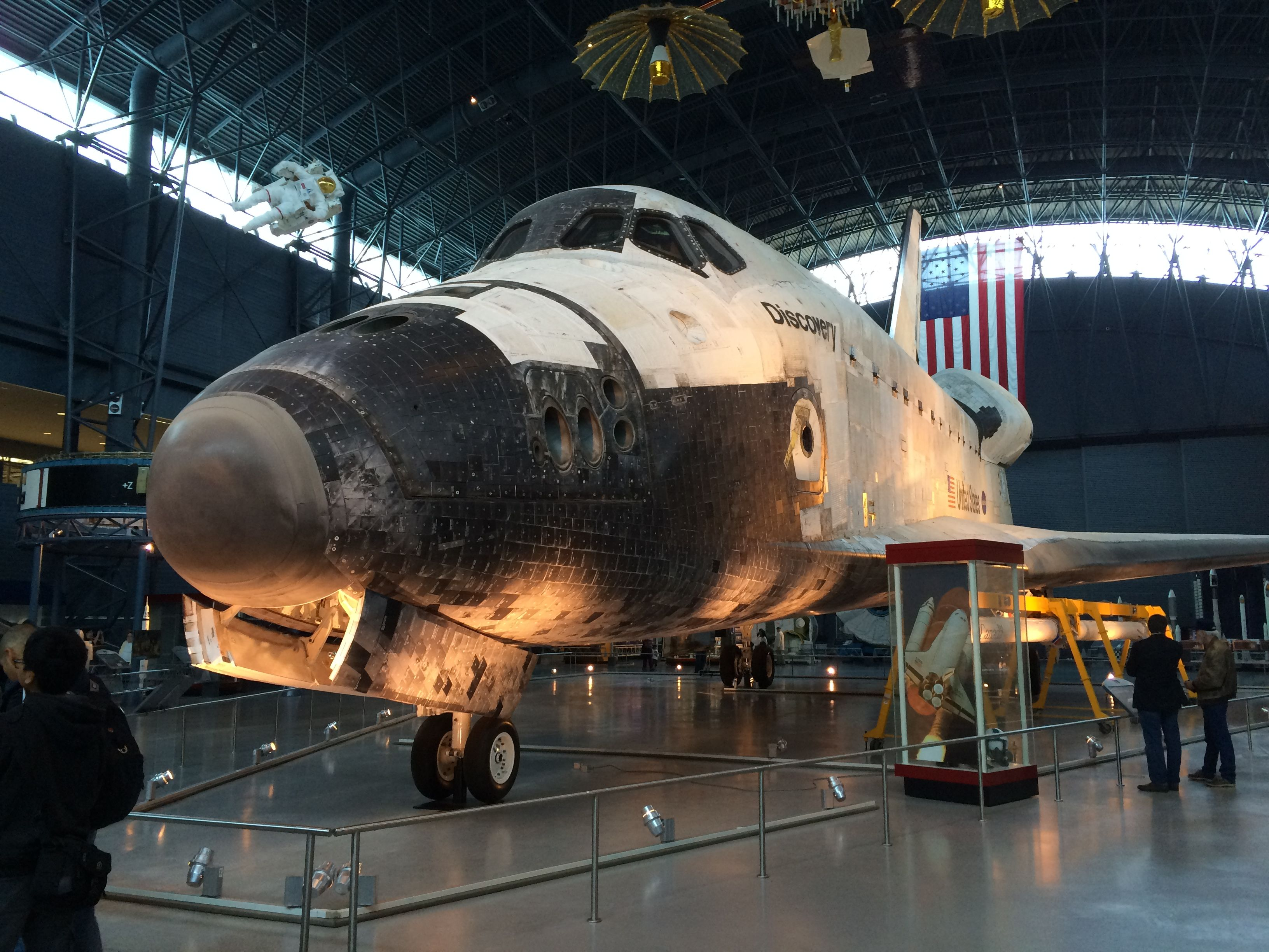 Exhibits in the Steven F. Udvar-Hazy Center - Space Shuttle Discovery