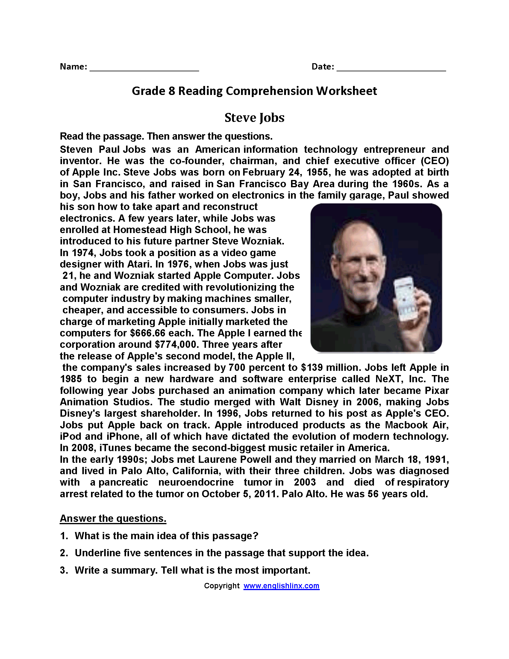 Steve Jobs Eighth Grade Reading Worksheets