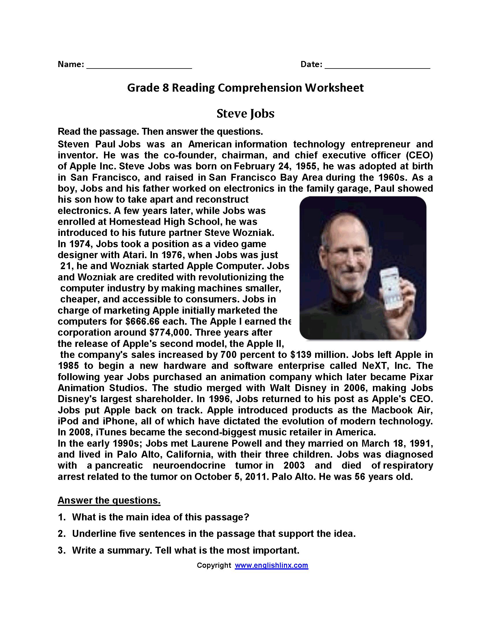 Steve Jobs Eighth Grade Reading Worksheets   Reading worksheets [ 2200 x 1700 Pixel ]