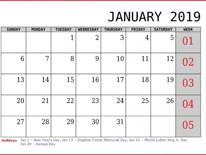 January 2019 Calendar With Office Holidays January 2019 Calendar
