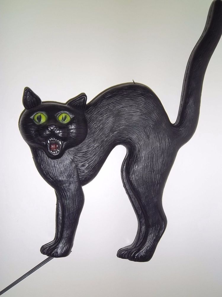 don featherstone black cat blowmold halloween decoration vintage 18 inches