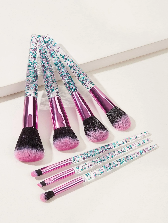 Clear Handle Makeup Brush 7pcs Popviva makeup paint