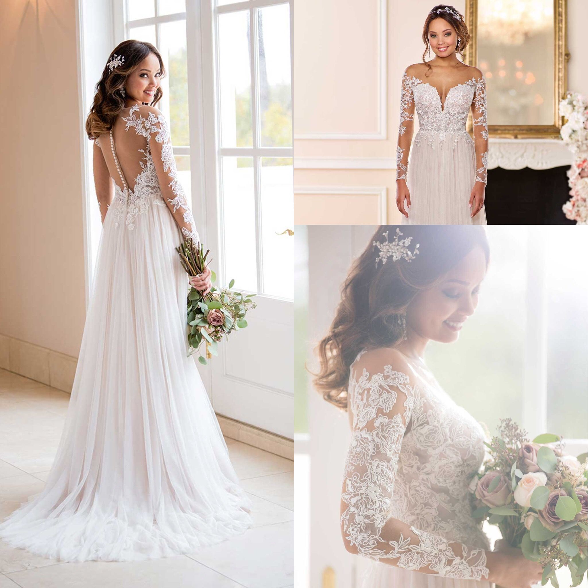 Long sleeved romantic boho tulle blush wedding dress available at