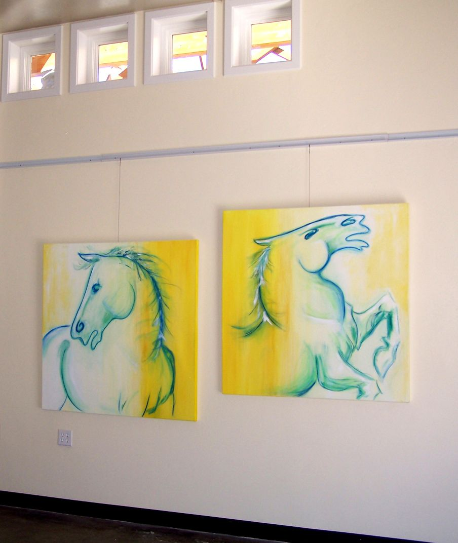 Horse Paintings On the Wall, Modern Artist, Mixed Media, Corporate ...