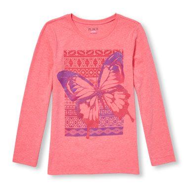 ddfb6d97 Girls Long Sleeve Glitter Butterfly Neon Graphic Tee   Children's ...