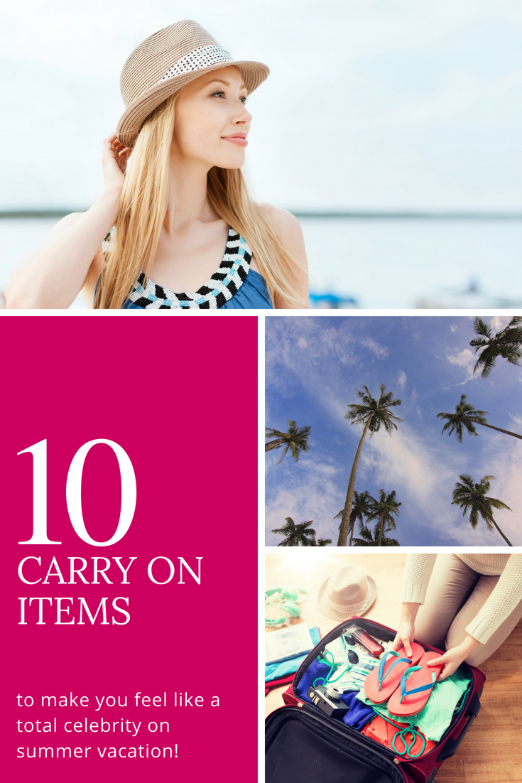 d6942987299f46 10 Carry-on Items to Make You Feel Like a Celebrity on Summer Vacation.  Click to get the look and add flair to your carry-on style!