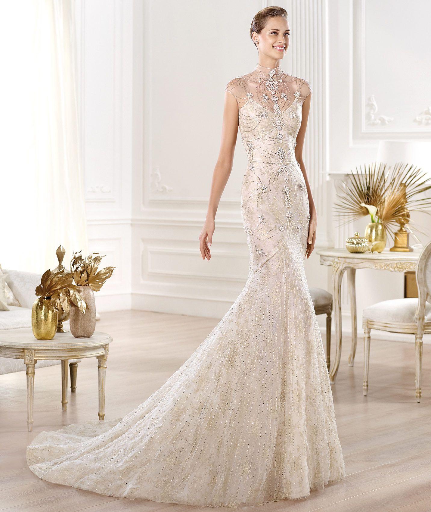 Wedding Dress Yalim Model Atelier Pronovias 2014 Collection Round Neckline