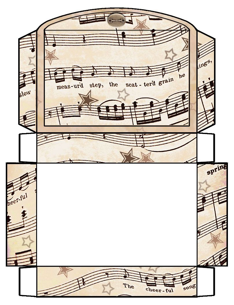 Vintage Sheet Music Free Clipart Biege Tan Printable Gift Boxes