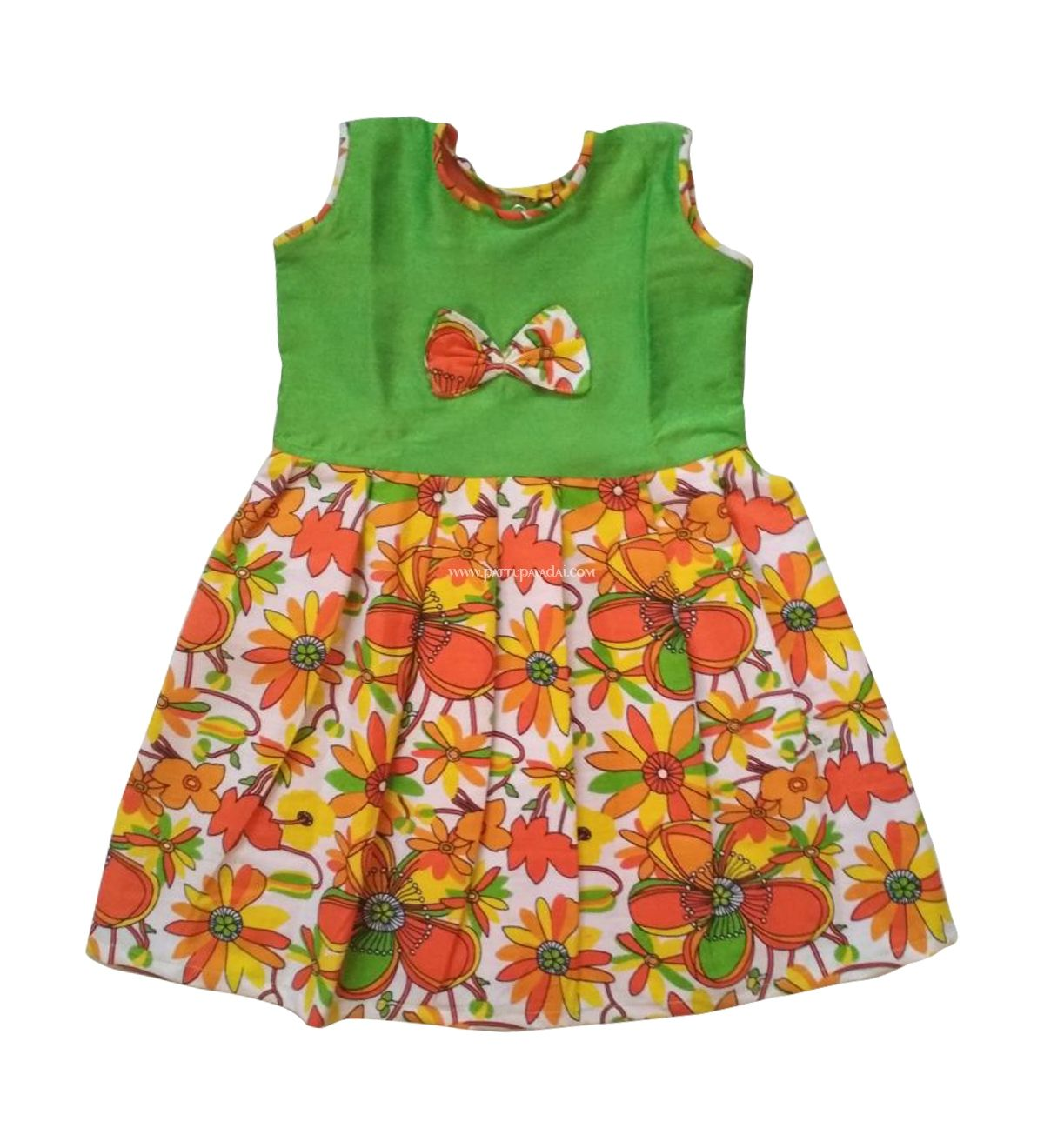 96e0091c6d Best Quality frocks at best prices, Cotton Frock Orange and Green, Suitable  for daily wear and summer.