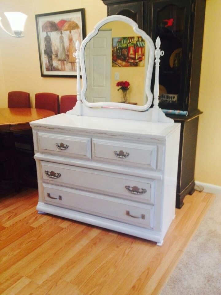 Vintage Dove Tailed Drawer Bureau Painted In Ace High Gloss White