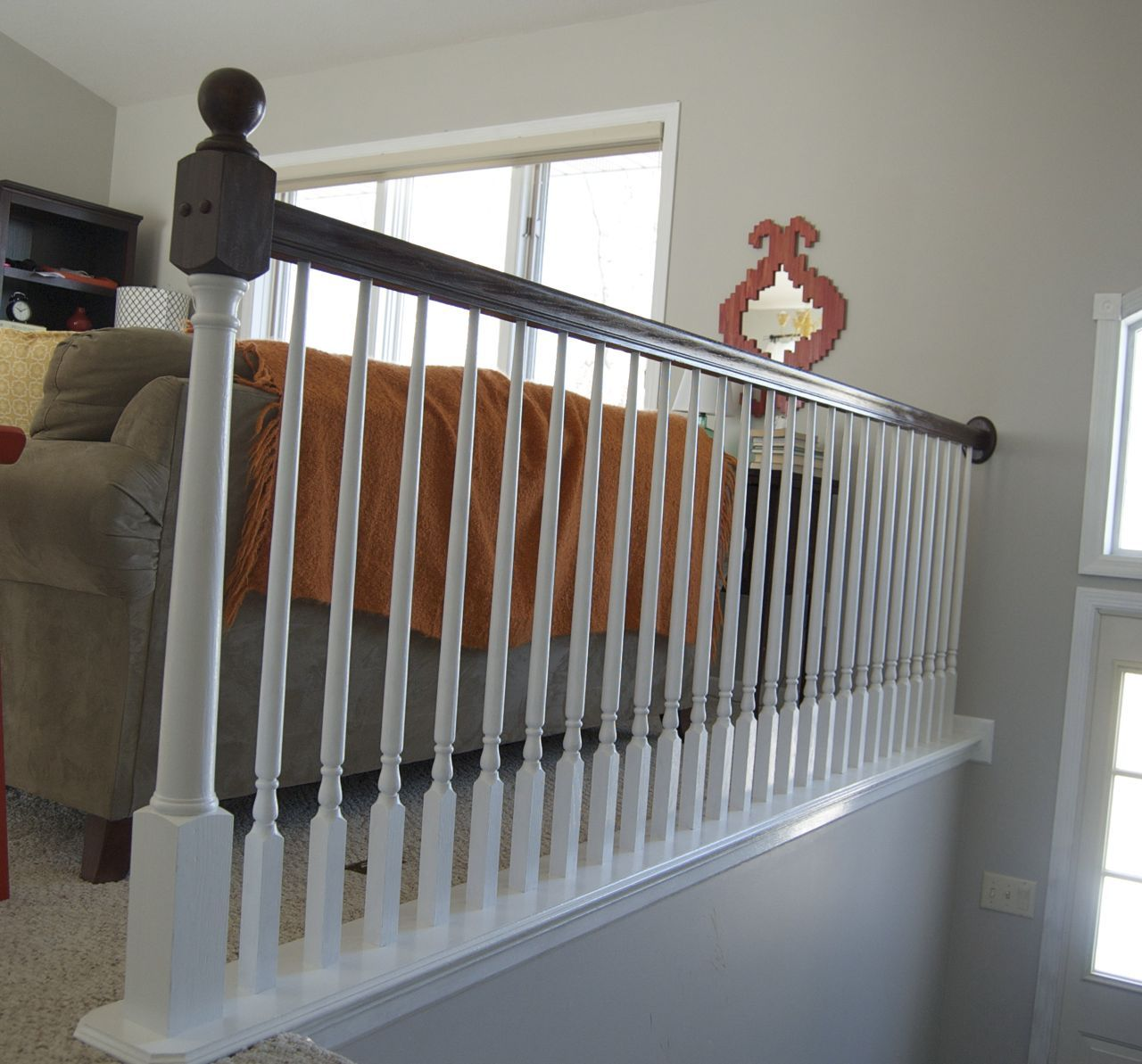 Before And After Gel Stained Stair Rail