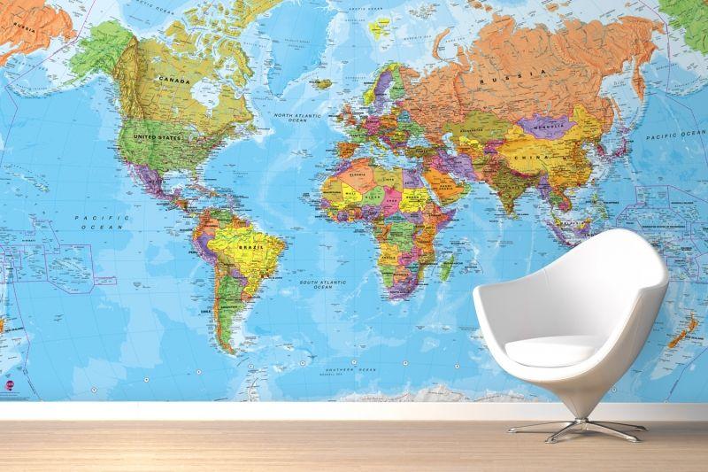 Political World Map Mural