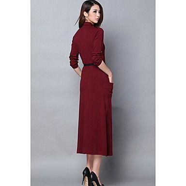 vestido+de+manga+larga+de+color+sólido+de+las+mujeres+q.s.h+–+EUR+€+20.99