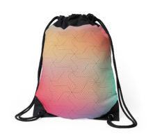 Colorful mind twisting geometric pattern Drawstring Bag