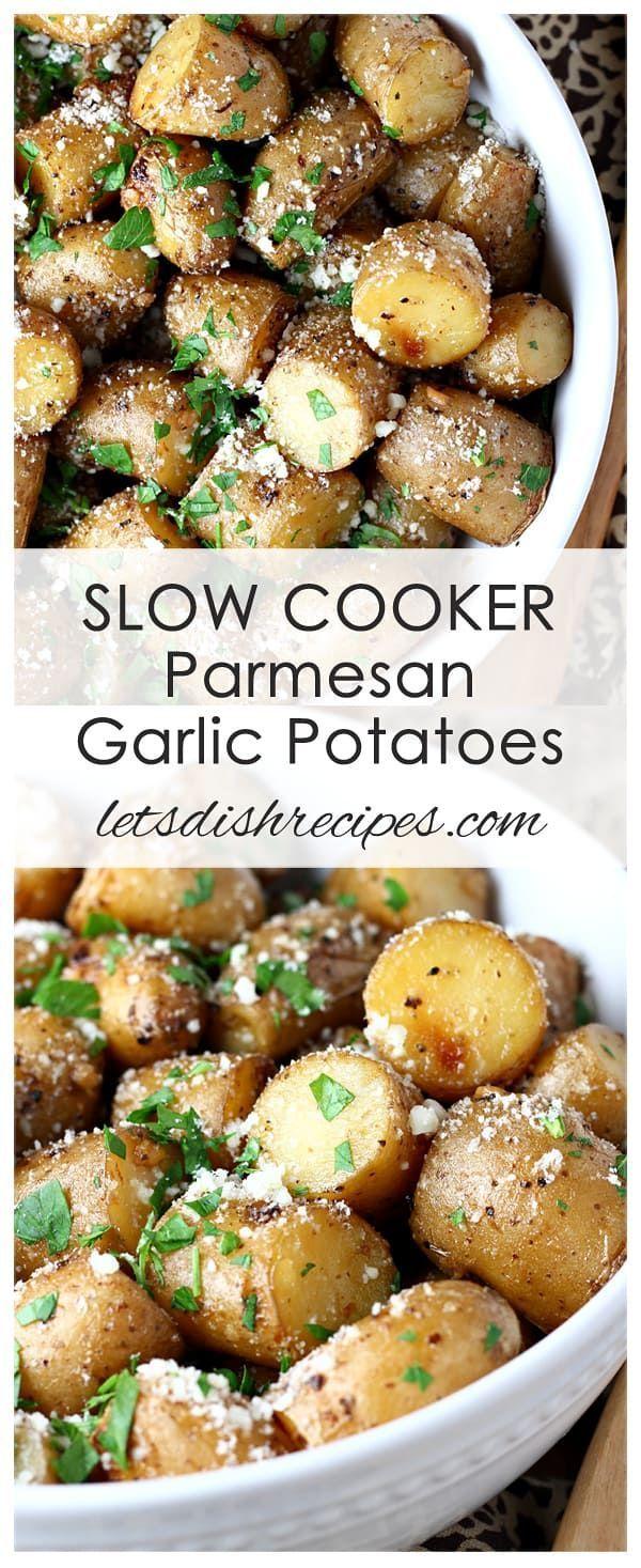 Slow Cooker Knoblauch-Parmesankartoffeln Rezept: Kleine gelbe Kartoffeln werden in #oliveoils