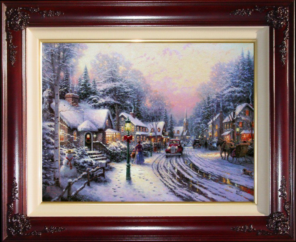Thomas Kinkade Village Christmas 18x24 I/P Framed Limited Edition ...