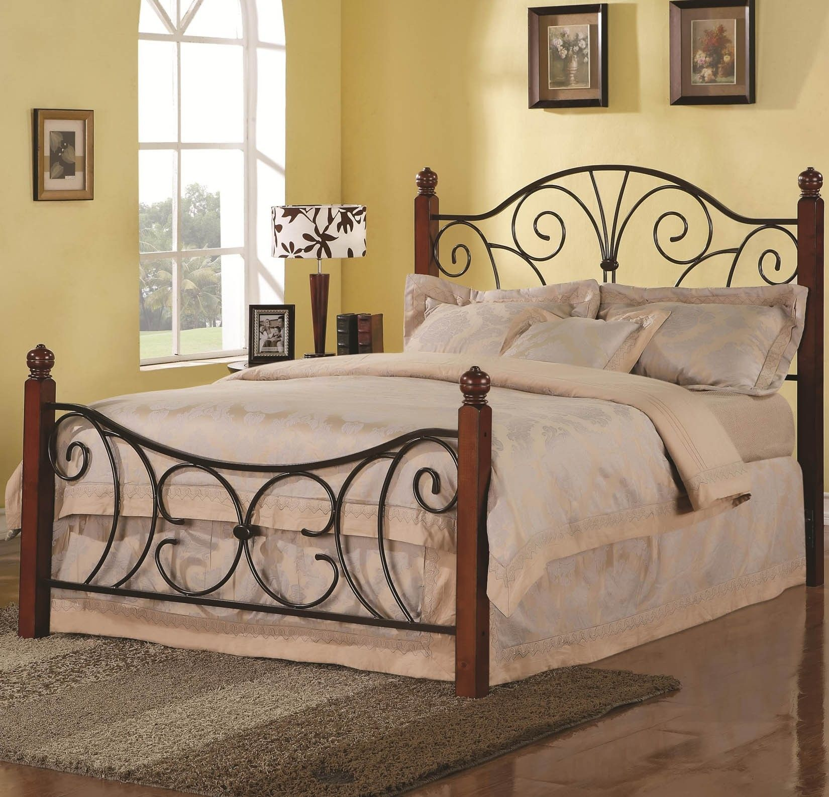 Black Iron Carving Bed With Headboard And Four Brown Wood