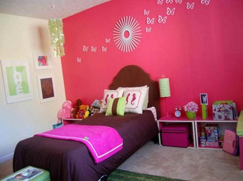 Bedrooms : Cute And Cool Children Bedroom Design Ideas For Your  Inspirations   Sweet Girl Kids Bedroom Design Idea With Brown Bed Linen And  Striking Pink ...
