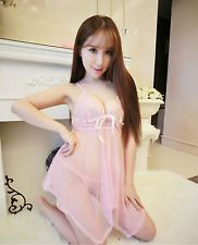 pink Lingerie Set Dress lady Nightwear Underwear Sleepwear  G-string Babydoll Via Ebay