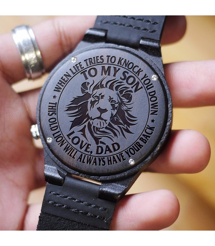 Get your son something special! This is a beautiful watch made from real wood. The watch case is made from wood and the strap made from genuine leather.