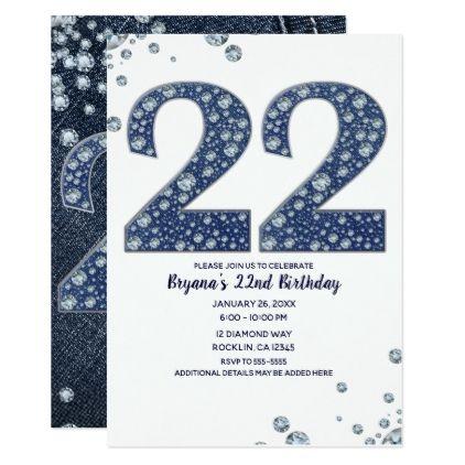 denim diamonds bling sparkle 22 22nd birthday invitation