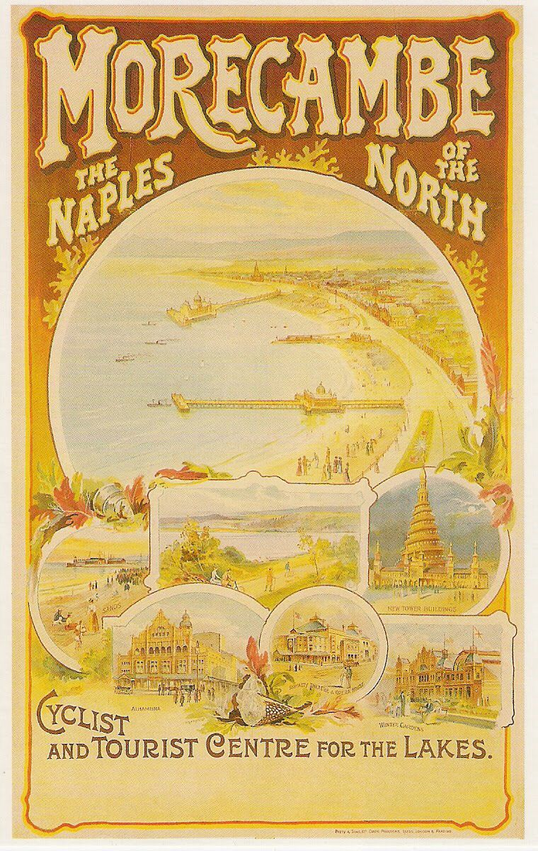 early poster detailing the delights of morecambe lancashire the