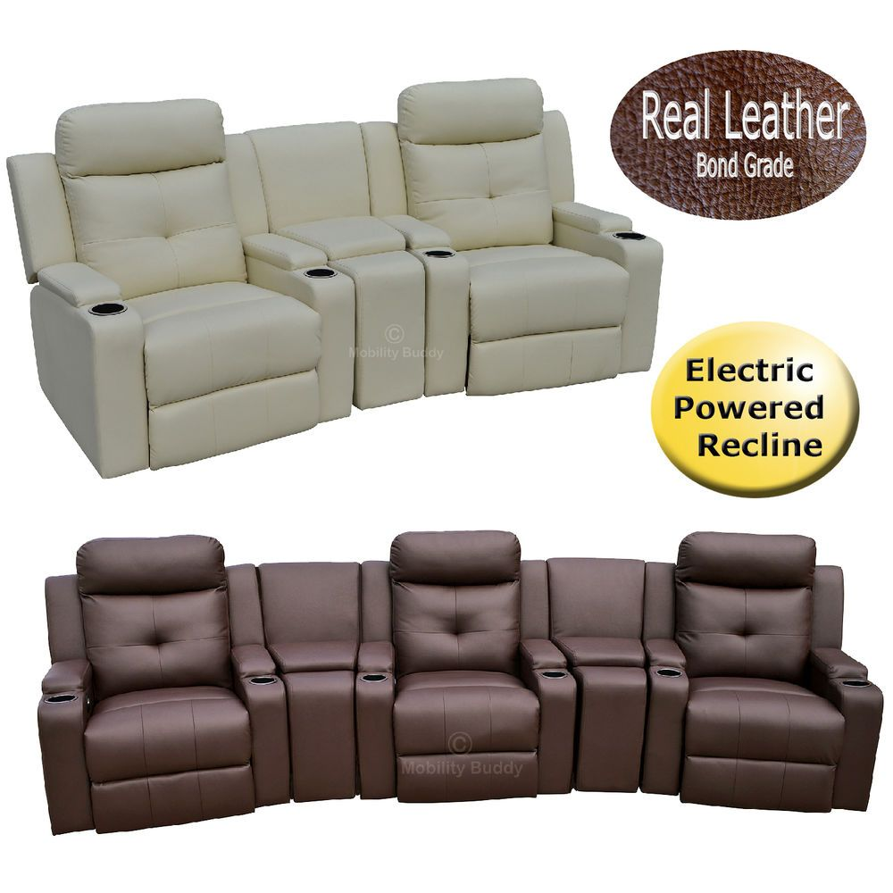 Odeon Bonded Leather Electric Powered Recliner Chairs Cinema Style