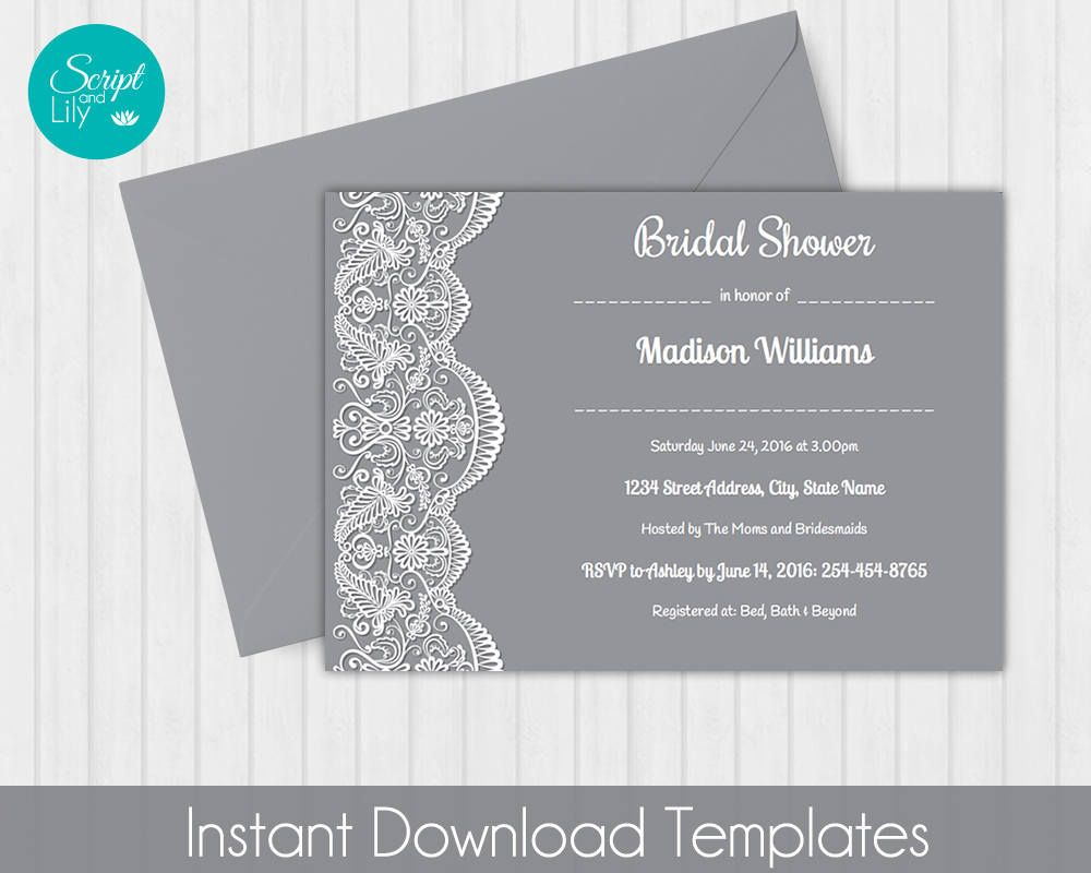 Pages Invitation Templates Free Lace Bridal Shower Invitation  *free Color Change  Diy .