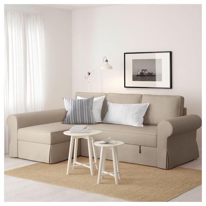 Photo of BACKABRO Canapea extensibilă cu şezlong – Hylte bej – IKEA