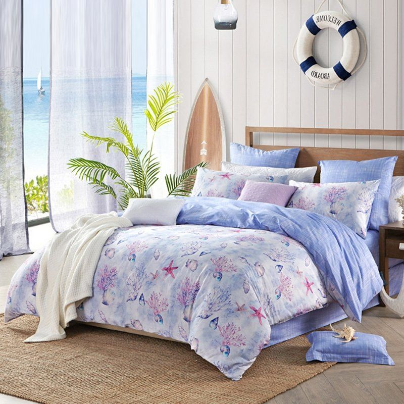 Blue Purple And White Under The Sea World Ocean Themed Seashell
