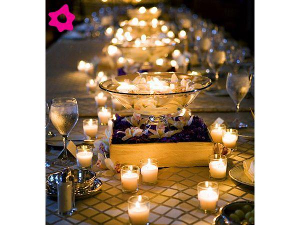 Centros de mesa para boda con velas flotantes para una boda en la - centros de mesa para boda con velas flotantes