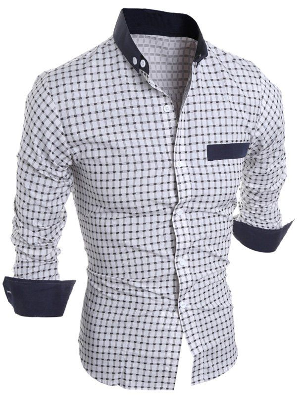 Long Sleeve Checked Button Down Casual Shirt In White,L   Twinkledeals.com