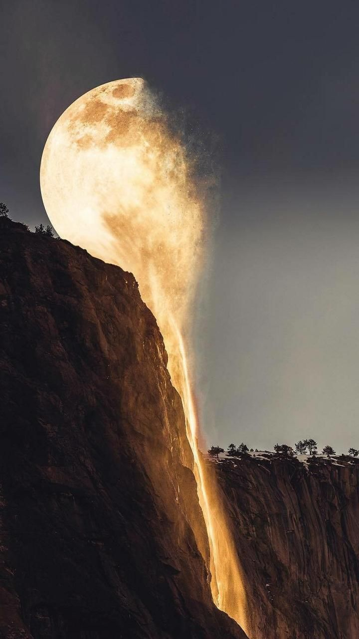 Moon Waterfall Wallpaper With Images Surreal Photo