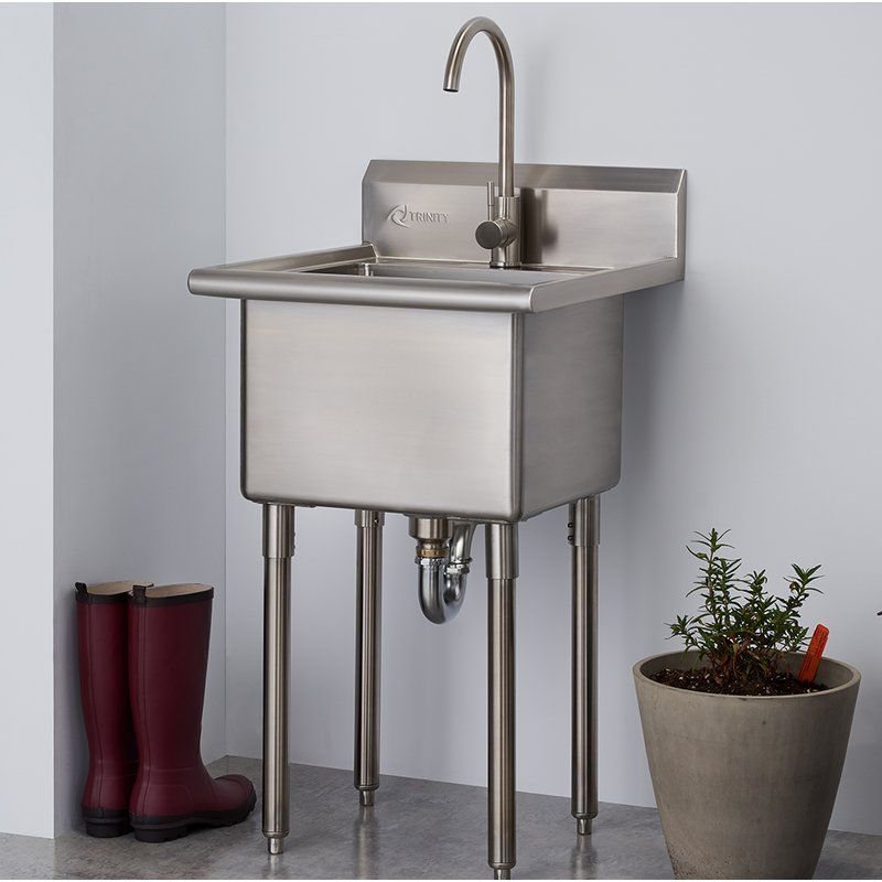 """21.5"""" x 24"""" Free Standing Laundry Sink with Faucet"""