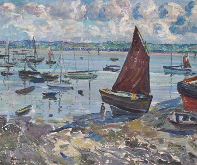 Leon Kamir 1872 1933 Ecole Polonaise Douarnenez Barques Au Sec Sous Voiles 1929 Hst 46x55 Douarnenez Art Peintre