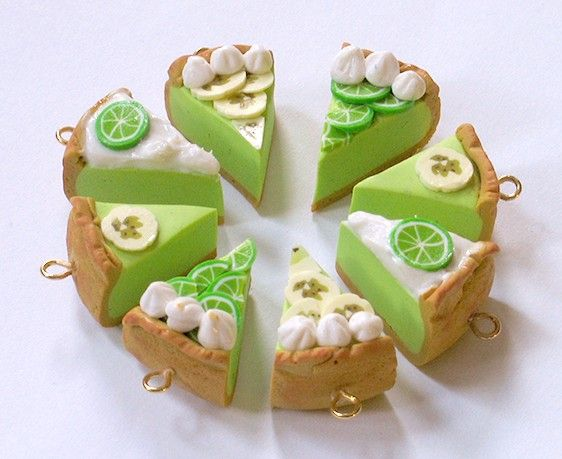 Photo of Key LIME PIE Pendant or Charm, Miniature Food Jewelry, Green, Sweet, Cute Charms