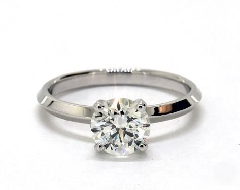 1.01 Carat Round Cut Solitaire Engagement Ring in 14K White Gold