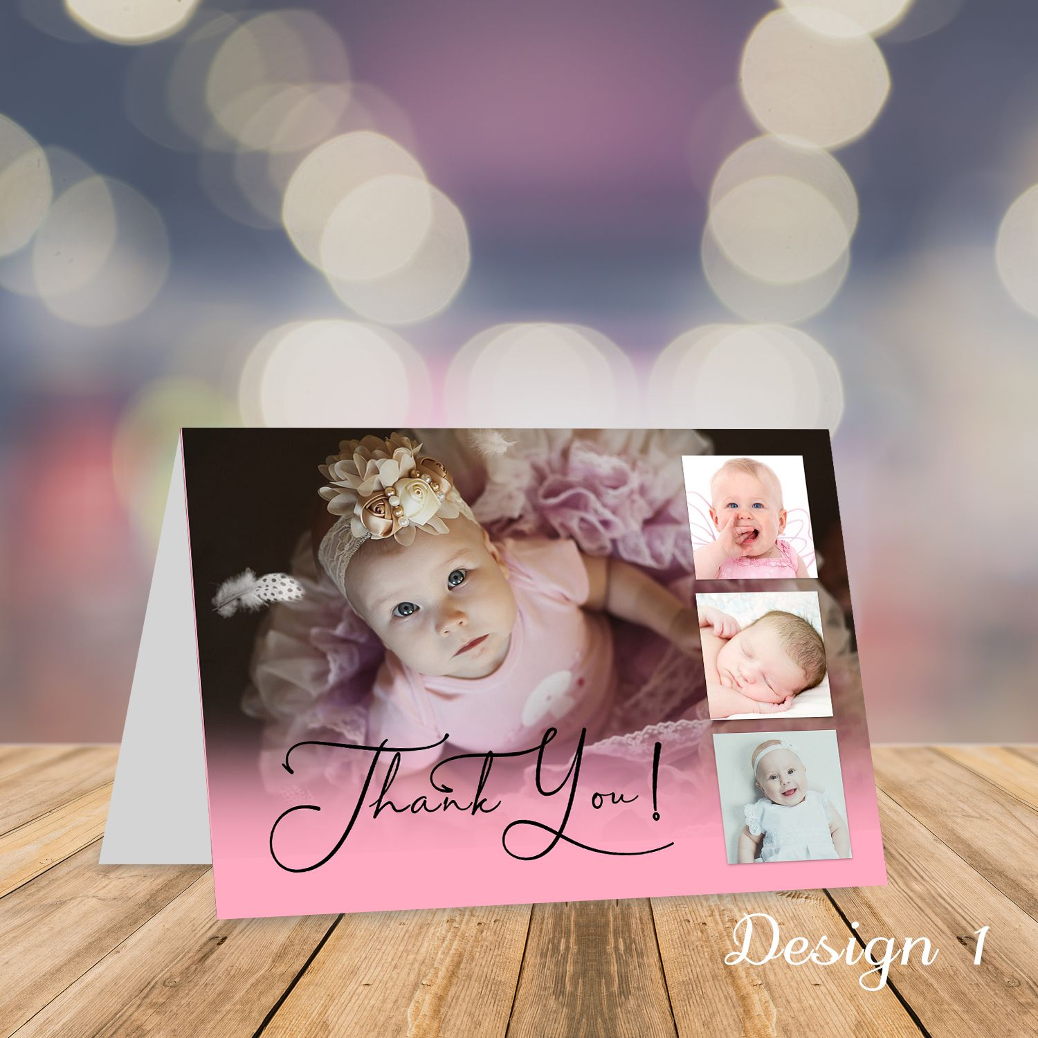 Personalised Folded Christening Thank You Cards With