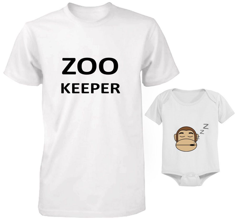 b83a62dac FATHER AND BABY SET T-SHIRT AND BODYSUIT SET DAD AND SON ZOO KEEPER AND  MONKEY 2 #Unbranded