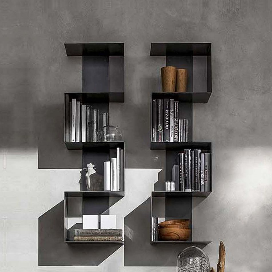 Modern Metal Bookshelf Wall Unit Viper By Santa Lucia