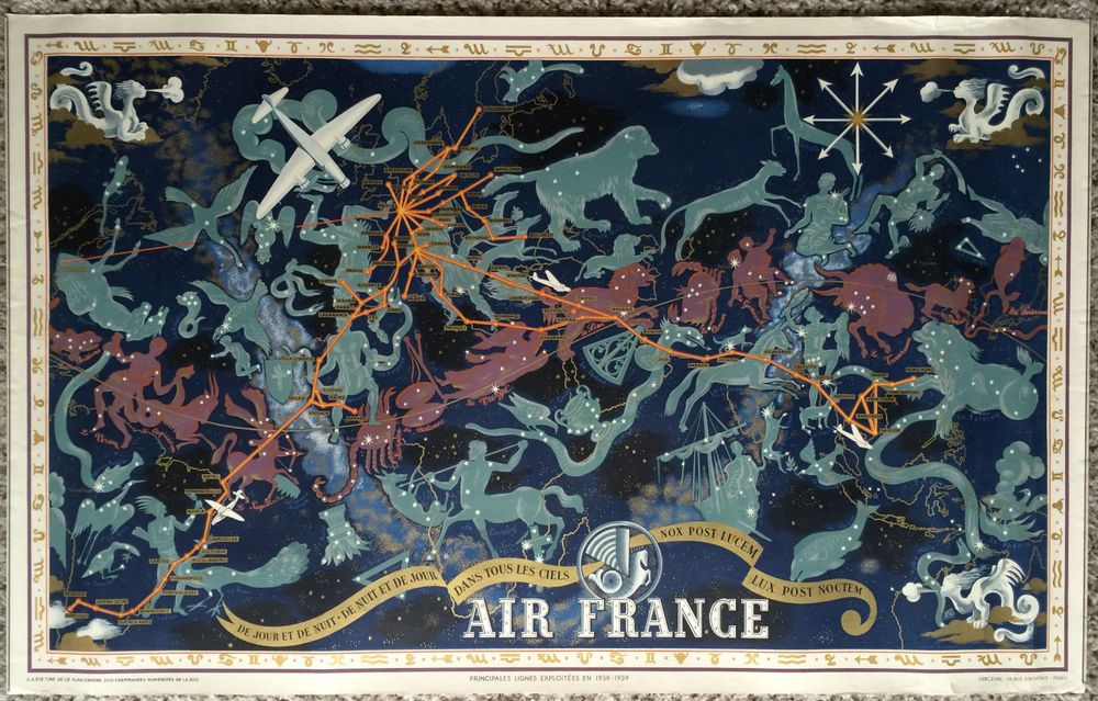 Original Travel Poster Air France World Map 1939 Lucien Boucher - new air france world map flight routes c.1948