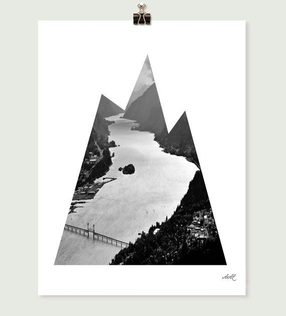mountain vs river nature photography geometric shape by BleuOiseau, $28.00