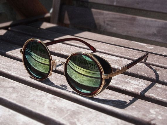 Leather Sides Sunglasses - Gold Sunglasses - Vintage Sunglasses - Industrial Eyewear - Round Sunglasses -Low Price High Quality -