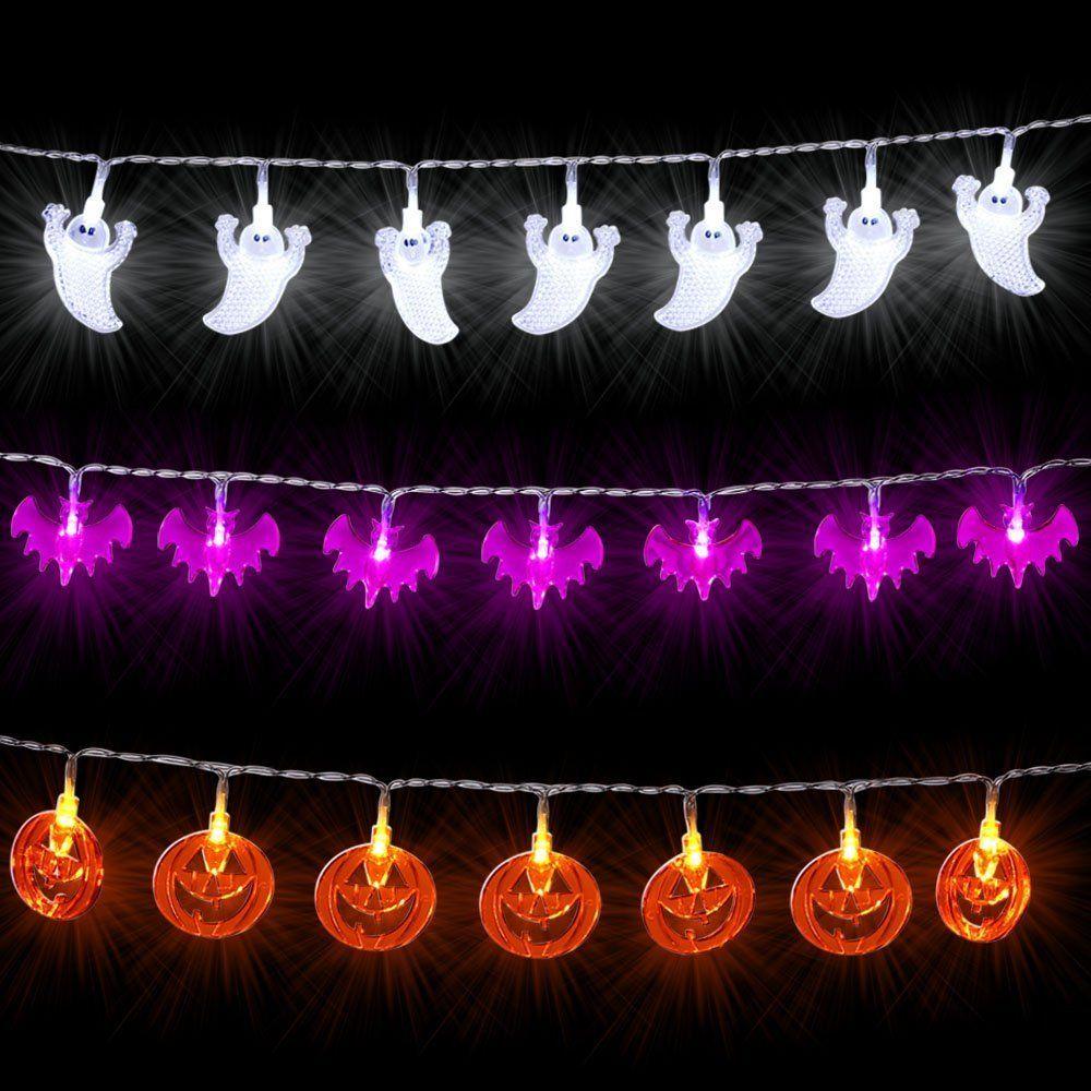 icicle halloween string lights set of 3 battery powered jack o lantern decorative lights for indooroutdoor decorations white ghosts orange pumpkins