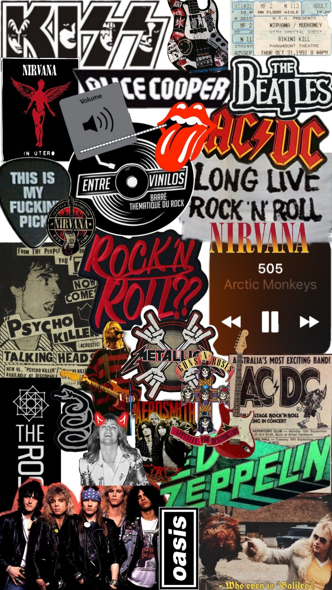 Rock N Roll Gaya Rock Desain Vektor Kertas Dinding