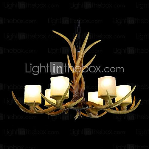 Resin Chandelier,6 Lights,Vintage Style Antler Shape Resin and Steel 220-240V - USD $ 395.99