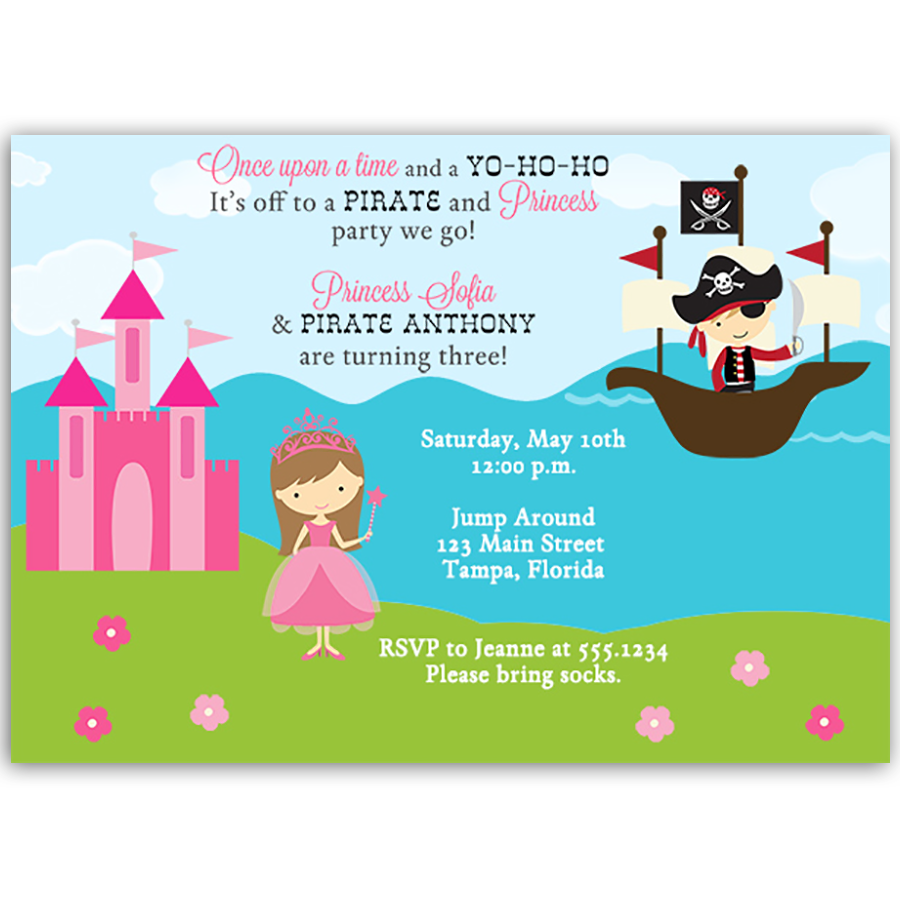 Pirate and Princess Birthday Party Invitation | White envelopes, Boy ...