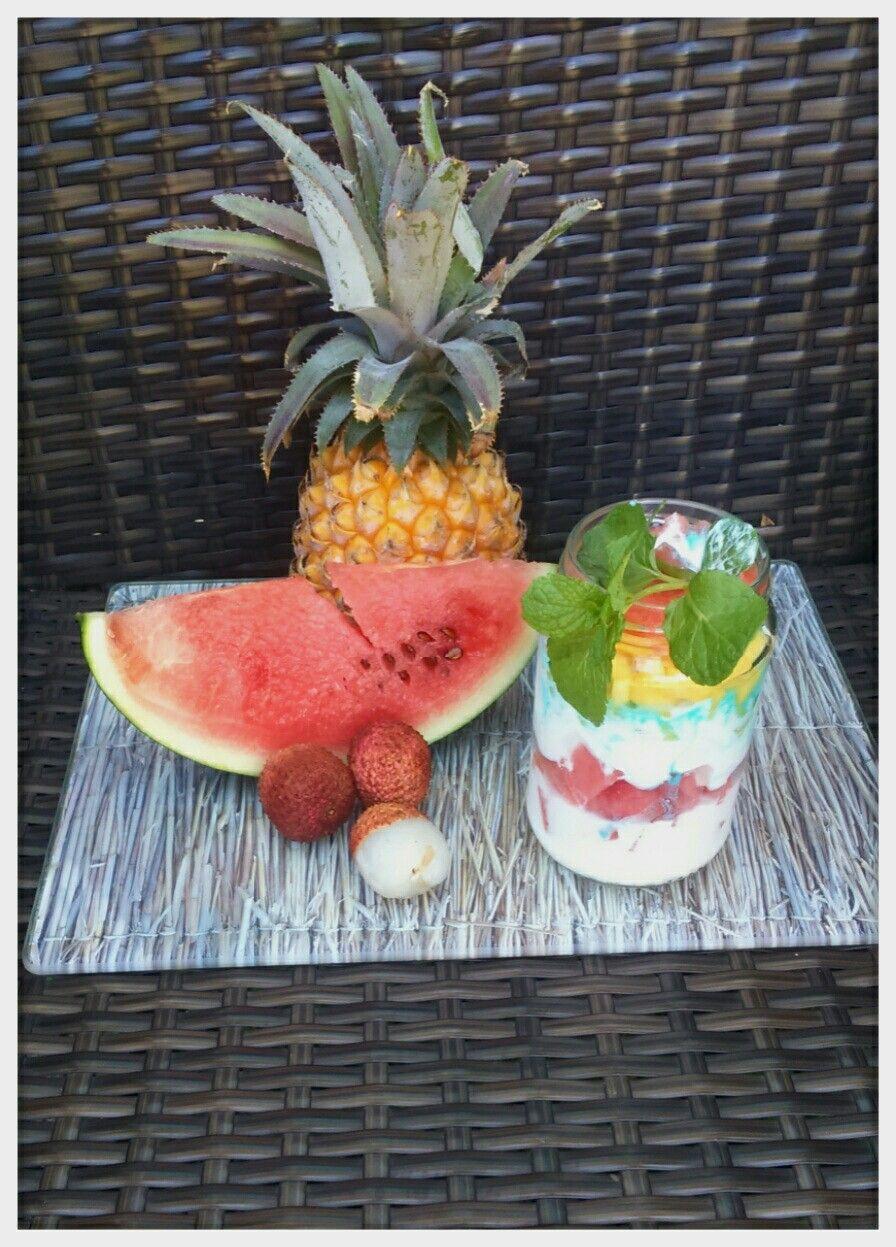 dessert aux fruits exotique del île de la réunion ananas pastèque