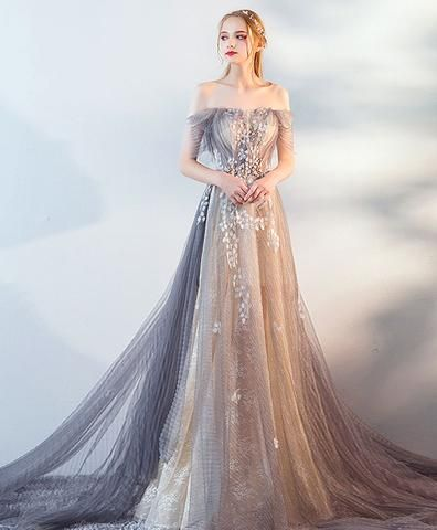 Gray tulle lace long prom dress, gray tulle lace evening dress