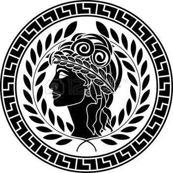 greek: black stencil of patrician women. second variant. vector illustration
